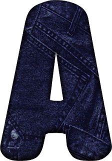 Alfabeto Decorativo: Alfabeto - Jeans Azul - PNG - Maiúsculas e Minúscu...
