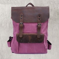 women's backpack in rose red.