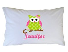 Personalized Pink and Green Owl Pillowcase for Girls Boys Kids or Adults Custom Owl Pillow Case by One Whimsy Chick  Handmade  Great for Birthday Present  Holiday or Christmas Gift  Party Favor *** Read more  at the image link.Note:It is affiliate link to Amazon.