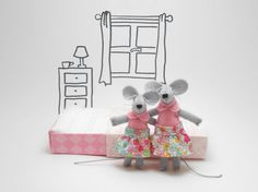 Mother and daughter stuffed animals tiny mice by atelierpompadour