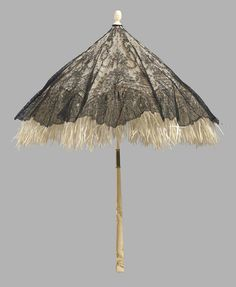 ©️ Museum of Fine Arts, Boston Chantilly lace parasol, silk lining; quill skin fringe, carved ivory folding handle and tip, France mid Lace Parasol, Civil War Fashion, Floral Garland, Floral Swags, Romantic Period, Umbrellas Parasols, Chantilly Lace, Border Design, Museum Of Fine Arts