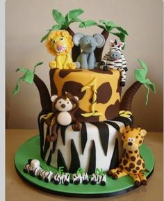 50 Best Zoo Birthday Cakes Ideas And Designs Jungle Birthday Cakes, Jungle Theme Cakes, Animal Birthday Cakes, Birthday Cake For Him, Safari Cakes, Safari Birthday Party, Themed Birthday Cakes, First Birthday Cakes, Themed Cakes