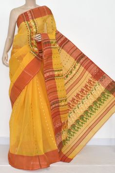 Golden Yellow Handwoven Bengali Tant Cotton Saree (Without Blouse) 13969 Cotton Sarees Online Shopping, Elegant Saree, Handloom Saree, Golden Yellow, Exclusive Collection, Bengal, Hand Weaving, India, Pure Products