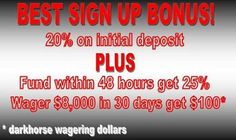 Members get the best sign-up bonus at Dark Horse Bet! Dark Horse Bet is the premiere horse betting site on the net. If it doesn't make dollars, it doesn't make sense! Visit the Dark Horse Bet website at www.darkhorsebet.com or call 1-877-478-9952 to find out more about Dark Horse Bet. #horse #betting