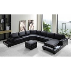 """Ritz Modern Black Leather """"U"""" Shaped Sectional Sofa - #sofas #furniture #LAfurniture #sectionalsofa #sectionals #couches #Furnituredesign #HomeDecor #Blacksofa #leathersofa #leathersofas #leathercouch #leathercouches"""