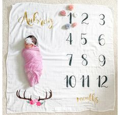 Modern Geometric Monthly Baby Blanket Personalized Baby Blanket Baby Shower Gift Photo Prop Girl Month Milestone Blanket