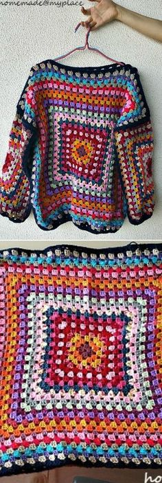 Crochet Granny Square Ideas Stunning Granny Square Cardigan Pattern Ideas - You are going to love this gorgeous Granny Square Cardigan Pattern Ideas and we have included plenty of free crochet patterns for you to try. Crochet Blouse, Crochet Shawl, Easy Crochet, Free Crochet, Knit Crochet, Crochet Shrugs, Crochet Sweaters, Tutorial Crochet, Crochet Jacket Pattern
