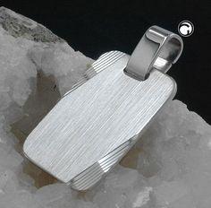 Anhänger, Gravurplatte, Silber 925  seidenmatt, mit Diamantschliff, Oberfläche anlaufgeschützt rhodiniert