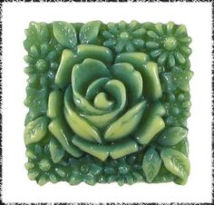 Square Vintage Celluloid Flower Button, Highly Detailed, Made in Japan
