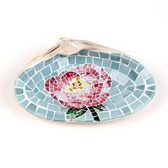 Mosaic Peony Flower Sea Shell Ring Dish Holder in by LiveInMosaics