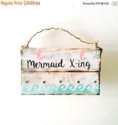 SALE Mermaid X-ing Sign / Beach Sign/ Wall by SeaGypsyCalifornia