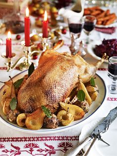 Christmas Goose: Debbie Major's maple-glazed roast goose recipe is served with a chestnut stuffing and stick apples and pears. Wild Game Recipes, Duck Recipes, Chicken Recipes, Rabbit Recipes, Roast Goose Recipes, Cooked Goose, Stuffing Ingredients, Maple Glaze, Smoked Bacon