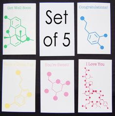 Set of 5 Chemistry Nerd Greeting Cards  5 by QueInteresante, $16.63