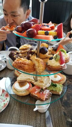 Finger sandwiches, fruit and pastries Finger Sandwiches, Pastries, Tea Time, Pancakes, French Toast, Fruit, Breakfast, Food, Sandwiches