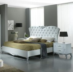 Daniela White/Silver Bedroom Set with 2 Door Sliding Wardrobe, 3 Drawer Chest & Mirror. From Italian Chic Furniture UK. Styled to a Modern Italian Design. Made in Italy. Italian Bedroom Furniture, Grey Furniture, Furniture Design, Bedroom Sets, Bedroom Decor, Bedrooms, White And Silver Bedroom, Italian Chic