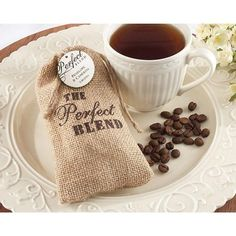 The Perfect Blend Burlap Bag (Set of This is the perfect wedding favor for coffee lovers. Thank guests with The Perfect Blend Burlap Bags from Kate Aspen fil. Coffee Favors, Coffee Wedding Favors, Edible Wedding Favors, Rustic Wedding Favors, Wedding Favor Bags, Unique Wedding Favors, Bridal Shower Favors, Unique Weddings, Party Favors