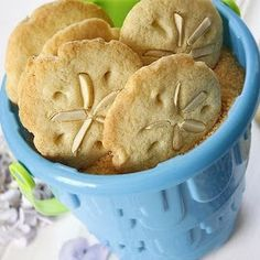 sand dollar cookies in beach pale. How cute are these?!