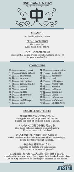 Learn one Kanji a day with infographic: 中 (chuu)