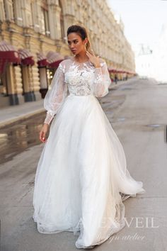 Wedding dress 'CATALINA' / Awesome modest wedding dress with long lace sleeves and lace skirt Cream Wedding Dresses, Different Wedding Dresses, Princess Wedding Dresses, Modest Wedding Dresses, Party Dresses, Bridal Dresses, Nice Dresses, Wedding Gowns, Event Dresses