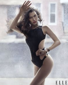 Pin for Later: Bella Hadid Scores Her First-Ever American Cover Wearing a Bunch of Sexy Bodysuits  Bella wearing a swimsuit by Jo De Mer, earrings by Chopard, and watches by Cartier.