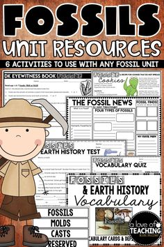 Six different fun and engaging fossil activities are included in this unit for students. Meets 4th Grade NC Essential Standards, but can be used with any study of fossils and earth surface/history. Includes: THE FOSSIL NEWS: newspaper activity, Basic Vocabulary Quiz, Fossils Sugar Cookie Recipe, 22 Fossil Vocabulary Cards and Definitions, Fossils and Earth History Test, and a 27 question student guide made for the FOSSILS DK EYEWITNESS BOOK.