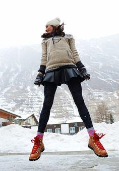 nycpretty blogger leggings leather skirt skater skirt pom pom beanie hat sweater shoes red lime sunday skirt boots socks