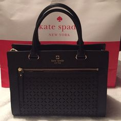 New Kate Spade gorgeous black bag NWT Kate Spade satchel bag. Black with gold embellishments.This also comes with a removable, black strap for shoulder bag :D! Retail $355.  Newly purchased, never been used. Price tag, care card and tissue paper inside are still in tacked (see pictures). I can also include the shopping bag it came with if you want :) kate spade Bags Satchels