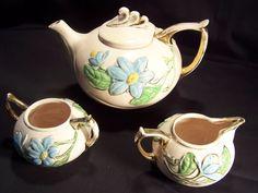 Hull Pottery Co. Tea Set-- Magnolia (Pink Gloss)