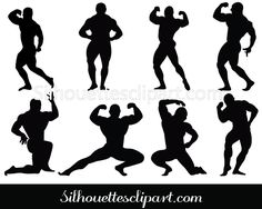 Bodybuilder Silhouette Clip art Pack Download