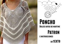 Ideas For Crochet Patrones Ponchos Poncho Au Crochet, Crochet Poncho Patterns, Crochet Stitches, Crochet Afghans, Crochet Patterns Free Women, Free Crochet, Knit Crochet, Crochet Summer Tops, Diy Couture