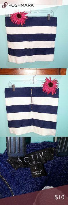 Active striped mini skirt. NWOT. Beautiful navy and white striped mini skirt, straight. Fabric is stretchy. Really pretty! Active Skirts Mini