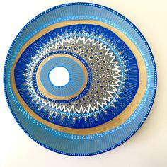 Decorative Plate - Evil Eye Wall Decor - Original hand-painted Artwork - Wall Hanging - Wall Art - Blue Evil Eye Decor - White Spiral Art by biancafreitas on Etsy