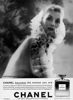 Chanel_1959. no 5 perfume ad with Suzy Parker, the supermodel of the 50's.