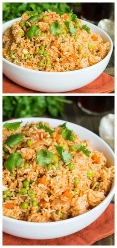 Mexican Rice with peas and carrots. Homemade tastes so much better than packaged.