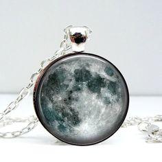 Moon Dome Pendant Necklace. $19.99 at alwaysFits.com #moon #pendantnecklace