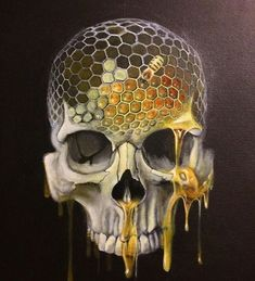 Skull Artwork, Skull Painting, Colored Pencil Artwork, Color Pencil Art, Cool Art Drawings, Art Drawings Sketches, Art Sinistre, Polychromos, Arte Cyberpunk