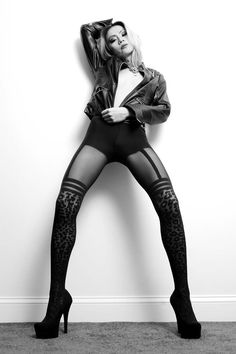 Sapphire Ng | Leopard Stockings & Leather Jacket Shoot. Photographer: Jean Claude, Makeup: Sam Woods.