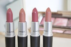 MAC Lipsticks in Brave, Honey Love, Twig, Velvet Teddy. Just missing Honey Love from my collection!