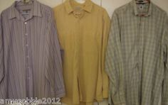 3 Men's button down shirts.Kenneth Cole Reaction XXL,Gap L and LL Bean XL.$25 priority shipping.