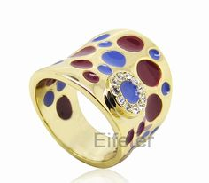 vintage elegant ruby & Ocean blue oil craft gold plated promise ring with shiny crystal