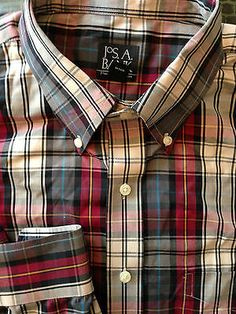 Mens JOS A BANK 2XLT Black Cream Red Blue Plaid Shirt L/S Travelers Collection
