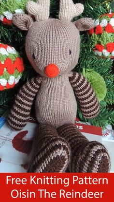 """/""""Have A Very Mice Christmas/"""" Tree Decorations//Trims Easy Toy Knitting Pattern"""