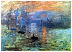 """Claude Monet, impresión: Sol naciente. 1872. Fué expuesta en una muestra creada por los principales artistas impresionistas, y abierta a todo el que quisiera participar. Las críticas no fueron buenas, """"el papel de pared en su estado de embrión está mejor acabado"""". Representa un sol naciente sobre el mar, que se eleva al igual que un trabajador un frio lunes de invierno. El sol no es lo suficientemente brillante como para acabar con la niebla azul, pero si como para crear reflejos naranjas en…"""