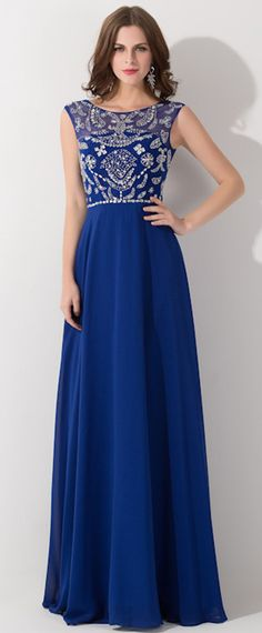 Royal Blue Chiffon Prom Dress