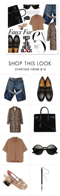 """""""Faux Fur"""" by elenaafiya ❤ liked on Polyvore featuring Sandro, Gucci, Ganni, Yves Saint Laurent, Donna Karan, ZeroUV, Givenchy, WhatToWear, sets and polyvoreeditorial"""