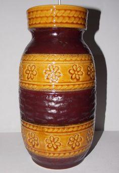 Vintage Retro BAY, WEST GERMANY Pottery Vase Brown Tones Stripes, Daisies