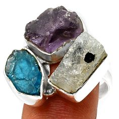 Amethyst-Rough-Neon-Blue-Apatite-925-Silver-Ring-Jewelry-s-8-SR107380
