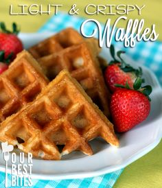 Favorite waffles EVER. AND you don't have to whip egg whites or use every bowl in your kitchen!