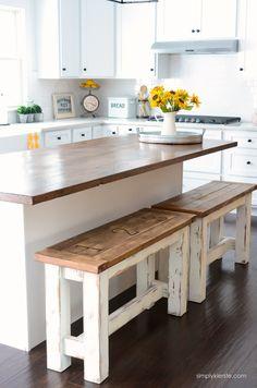 Ideas Diy Kitchen Bar Ideas Joanna Gaines For 2019 Table Farmhouse, Kitchen Island With Seating, Farmhouse Kitchen Cabinets, Kitchen Benches, Farmhouse Style Kitchen, New Kitchen, Kitchen Ideas, Farmhouse Decor, Kitchen Islands