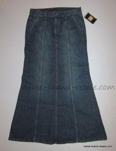 LUCKY BRAND RARE DESTINY Skirt 4 27 Long PEPLUM Flare Denim Jean Mermaid MODEST #LuckyBrand #ALine